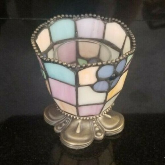 PartyLite Hydrangea Tiffany Style Stained Glass Votive Candle Holder Retired